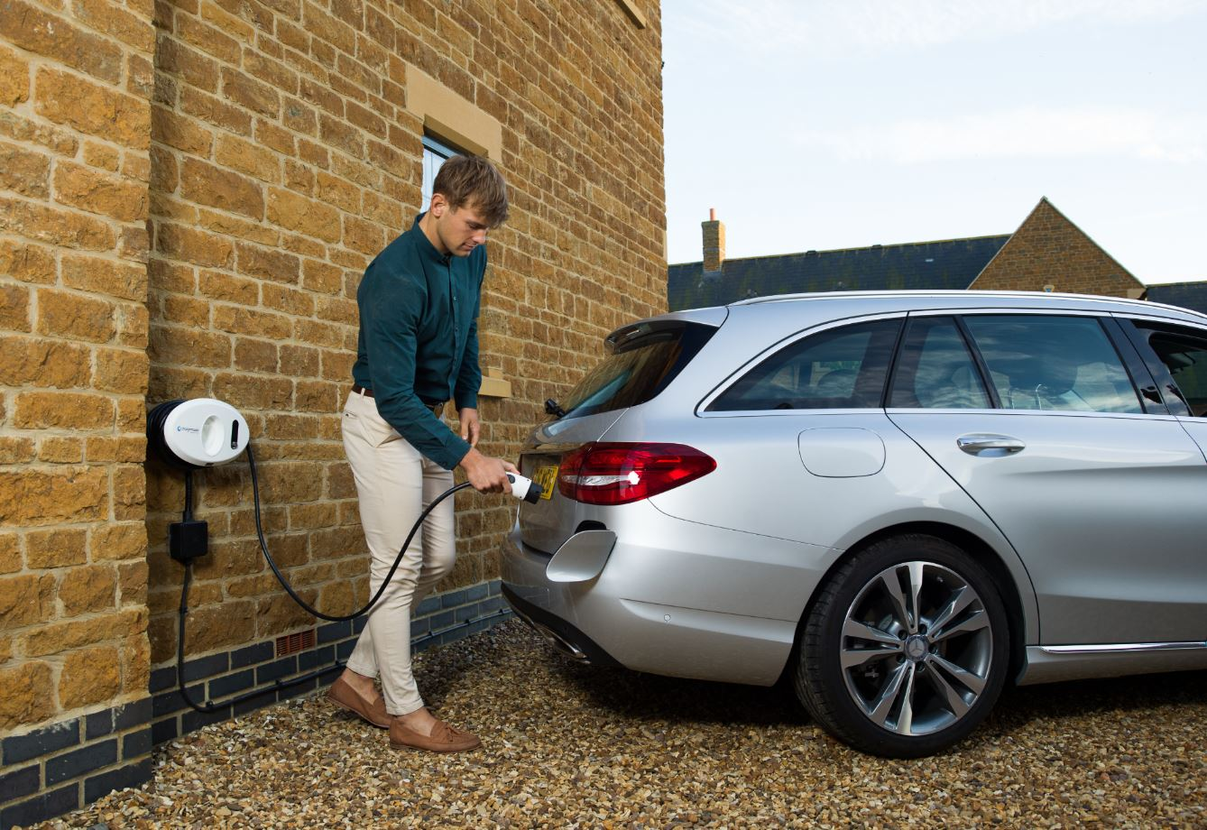 Mercedes plugged in to tethered home charge unit