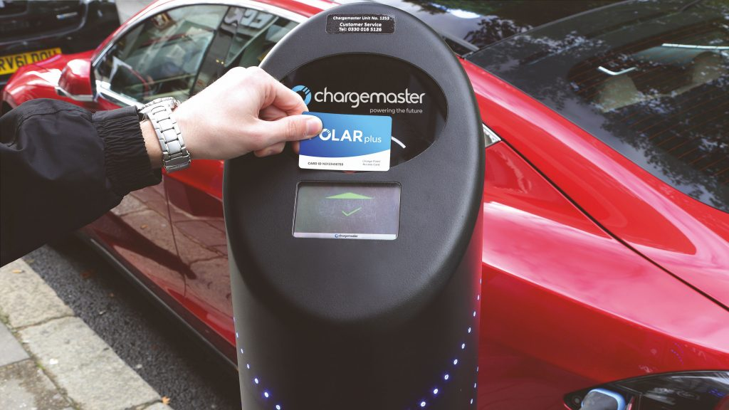 Polar Plus electric charging card used on a public floor mounted charge fastpost