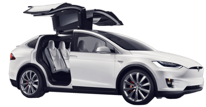 Tesla Model X in white with doors open Electric car EV