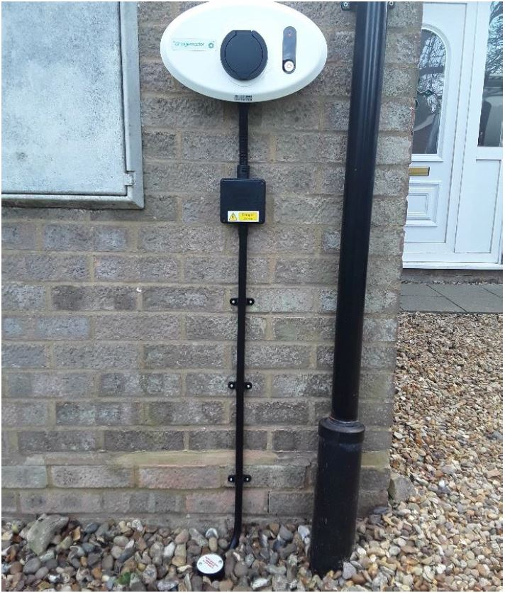 Completed Homecharge installation including earth rod