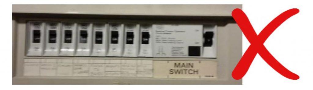 Example of incorrect fuse board photo