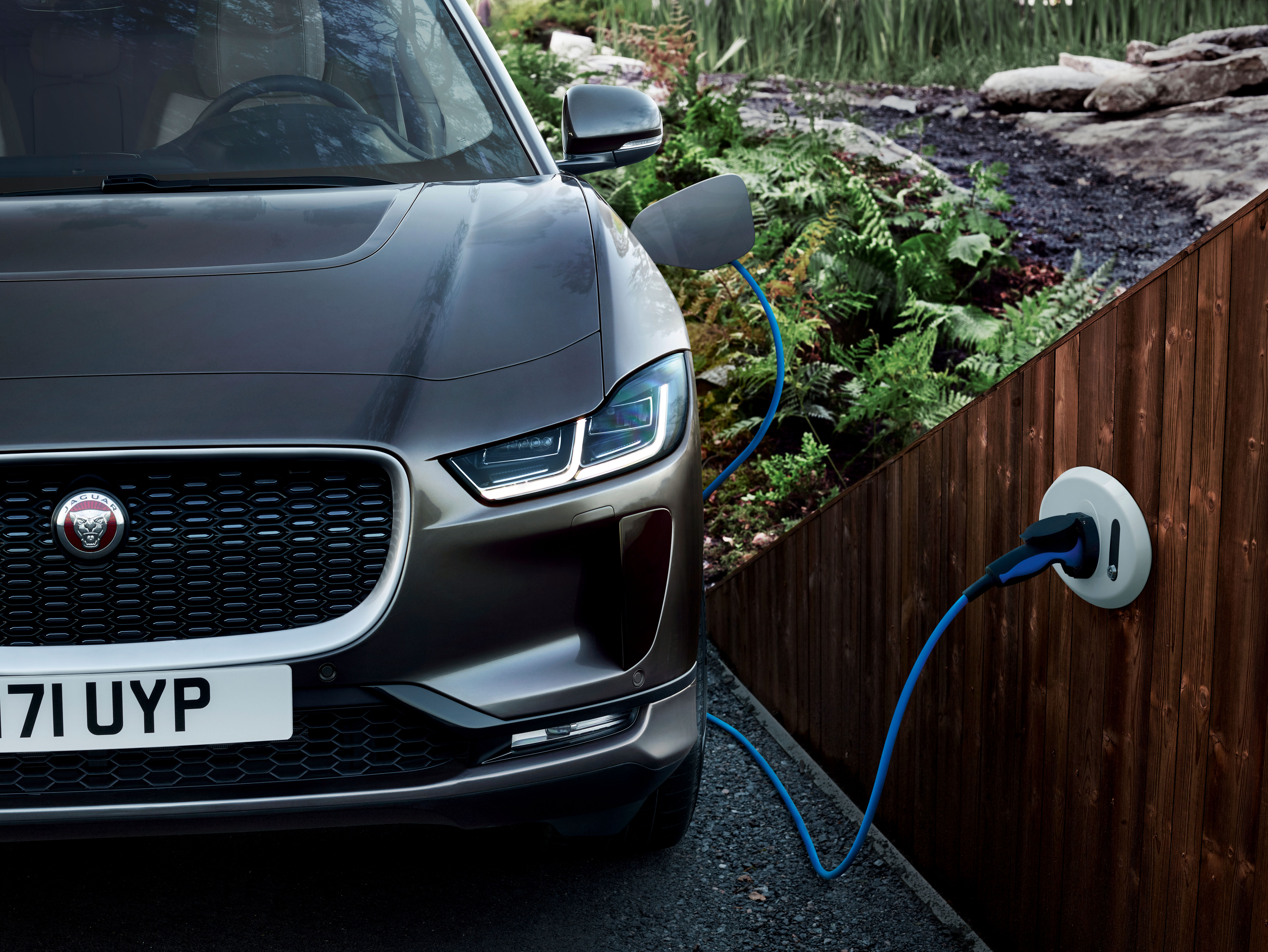 Jaguar electric vehicle and plug in homecharge unit